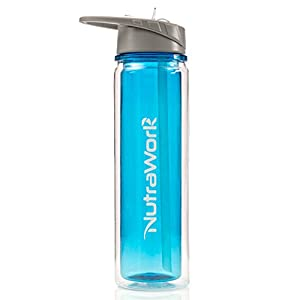 NutraWork Insulated Plastic Water Bottle (20 oz.) — Double Walled Insulated Water Bottle with Straw — Vacuum Sealed Sports Bottle — Wide Mouth Straw — Sweat Proof & BPA Free Tritan Plastic Gym Bottle
