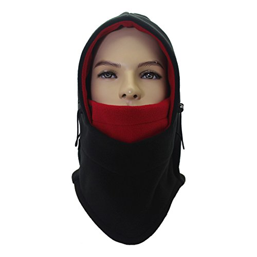 Runtlly Winter Windproof Cap Fleece Balaclava Hooded Face Mask Neck Warmer Ski Hood Snowboard Mask Wind Protector Ski Hat Black Red