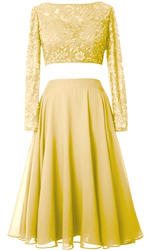 2 Gown Cocktail Piece Elegant Lace Sleeve Dress Short MACloth Canary Long Formal Prom gapTxw