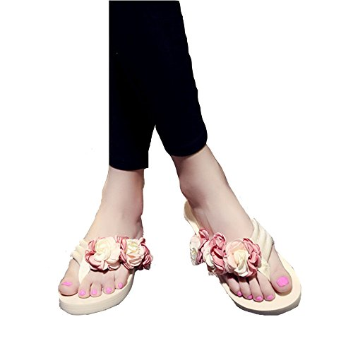 T JULY with Wedge Womens Beach Handmade Flops Ladies Pink Slides Flip Sandals Fashion Slippers Flower ffqXdr