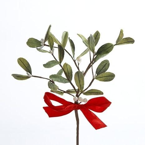 Kurt Adler Artificial Mistletoe Pick with Red Bow C3790