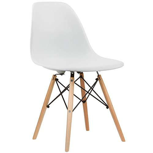 crazygadget Charles & Ray Eames inspiriert Eiffel DSW Retro Design Wood Style Stuhl für Büro Lounge Küche - weiß