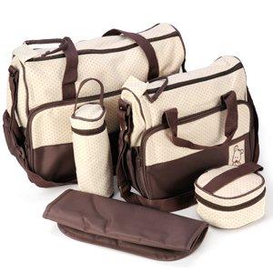 *Versand aus Deutschland*5tlg Wickeltasche Babytasche Pflegetasche Tasche Braun Baby Geschenkidee NEU
