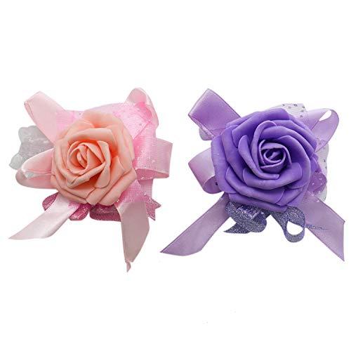 Buorsa 2 Pcs Wrist Corsage wristband Roses Wrist Corsage Prom, Party, Wedding Wrist Corsage Hand Flower ()