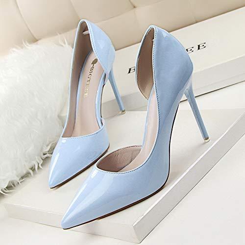 Yukun zapatos de tacón alto Zapatos De Tacón De Aguja A Prueba De Agua del Color del Lado Desnudo del Otoño Zapatos De Charol 12Cm Zapatos De Tacón Alto De Las Mujeres, 39, Negro Sky Blue