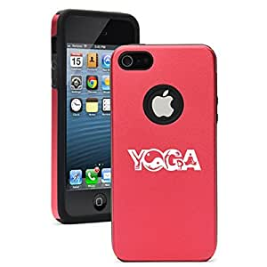Apple iPhone 5 5s Aluminum Silicone Dual Layer Hard Case Cover Ying Yang Yoga Poses (Red)