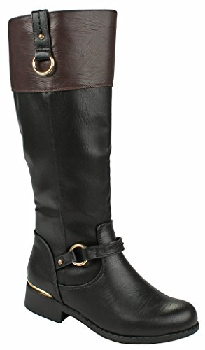(JJF Shoes Women FK Brown/Black Two Tone Gold Decorative Winkle Back Shaft Side Zip Knee High Flat Riding Boots-10)