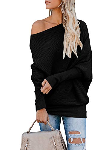 Tutorutor Womens Off The Shoulder Tops Oversized Batwing Sleeve Pullover Loose Rib Knitted Jumper Sweaters Black (Rib Knit Pullover)