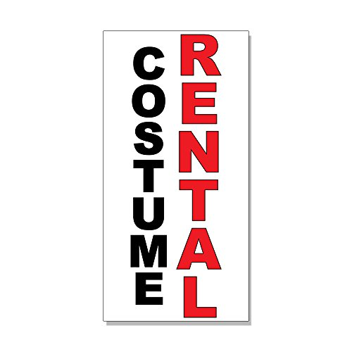 Costume Rental Black Red DECAL STICKER Retail Store Sign -14.5 x 36 inches (Rental Costumes)
