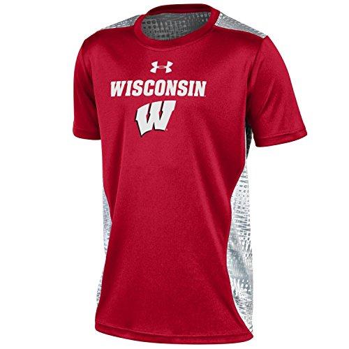 NCAA Wisconsin Badgers Boys NCAA Under Armour Boys' Short sleeve Raid Novelty Tee, Red, Small