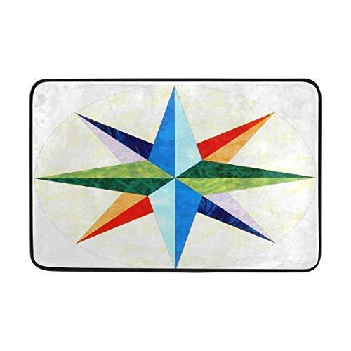 (Tollyee Mariners Compass Doormat, Entry Way Indoor Outdoor Door Rug with Non Slip Backing, (16 X 24 Inch))