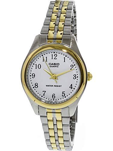 Casio Ltp-1129G-7Brdf Women's White Dial Two Tone Base Metal Watch (Dial White Polished)