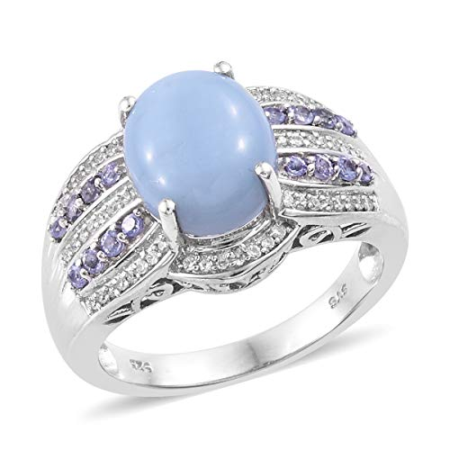 (Blue Opal Tanzanite Promise Ring 925 Sterling Silver Platinum Plated Jewelry for Women Size 9)