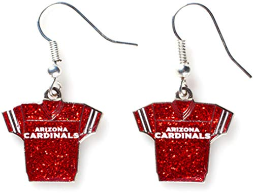 NFL Arizona Cardinals Glitter Jersey Earrings 1 Cardinal Replica Football Jersey