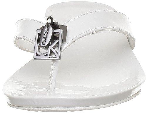 Para blanc Mujer Calvin Sandalias wht Klein De Piel Blanco xwq71H0I7