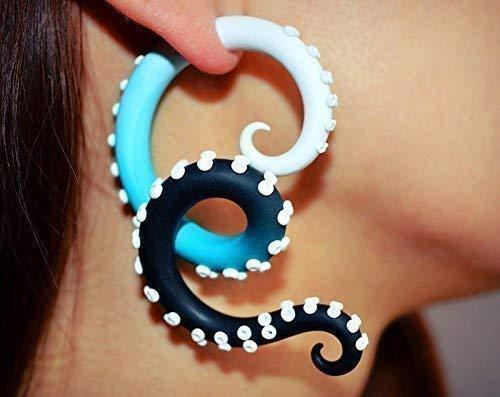 Tentacle Gauge Ear Piercings Ear Plugs and Fake Gauge Earrings, Octopus Tentacle Earrings 2g 1g 0g 00g 000g 7/16 0000g 1/2 9/16 5/8