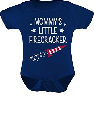 Tstars Mommy's Little Firecracker! 4th of July Infant Funny Baby Bodysuit Newborn Navy ()