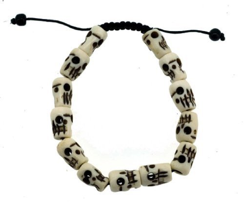 Hinky Imports Tibetan Meditation Yak Bone Skull Bead Bracelet Buddhist Prayer Beads Wrist Mala ()