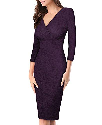 (Women's Plum Cross V Neck MIDI Dress KDR44322 G4000 Violet XLarge)