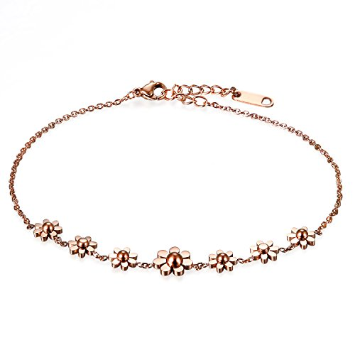 Flongo Womens Girls Vintage Stainless Steel Daisy Flowers Link Bracelet Birthday Valentine Daisy Anklet for Women, 8.66 inch