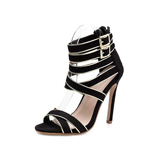 11 cm de tacón de Aguja Cruz Correas Hueco Sandalias Mujer Abierta Toe Tobillo Correas Hebilla cinturón Roma Zapatos OL...
