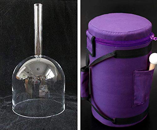 CVNC 7 Inch F note Handle Clear Quartz Crystal Singing Bowl + 7'' Purple Colored Carry Case Bag + One Suede Mallet