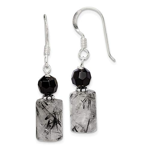 - 925 Sterling Silver Black Crystal Tourmalinated Quartz Drop Dangle Chandelier Earrings Fine Jewelry Gifts For Women For Her