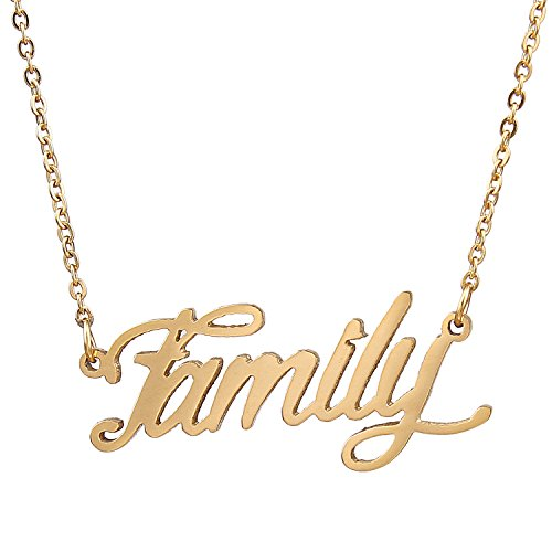 AOLO Family Necklace Cursive Words Letter Charm Necklace
