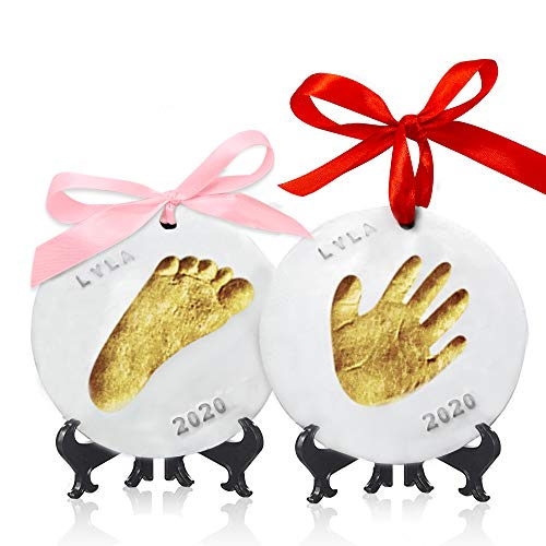 Baby Handprint Footprint Ornament Keepsake Kit – Personalized Baby Prints Ornaments for Newborn – Baby Nursery Memory…