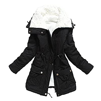 Aro Lora Women's Winter Warm Faux Lamb Wool Coat Parka Cotton Outwear Jacket
