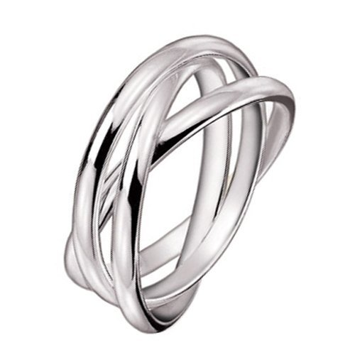 MIMI 925 Sterling Silver 3 Triple Band Rolling Russian Wedding Ring Size 12