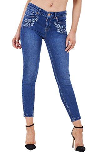 ex UK Store Ladies Skinny Crop Ankle Grazers Frayed Rip Ripped Zip Denim Stretch Jeans RRP 163;45 Indigo- Floral
