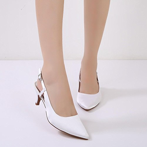 L@YC Women Pumps Closed Toe High Heels D99634-8 Pointed Prom Spool Satin Wedding Party Shoes White hocmV