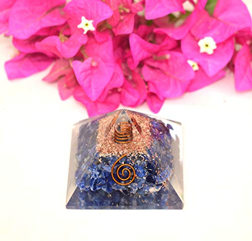Orgone Energy Generator Pyramid | Natural Sodalite Orgonite Pyramid | Emf Protection | Reiki Healing Home Office Gift Wellness Gemstone Prosperity Health Chakra Balancing (Generator Price In India For Home Use)