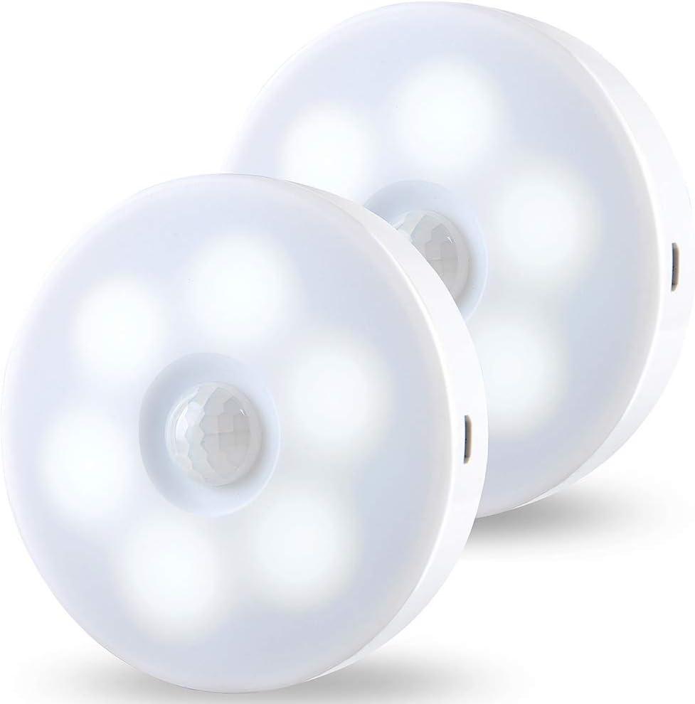 Luz Nocturna, JINPX Luz Noche LED con Sensor de Movimiento Recargable USB (2 pack) Luz LED Armario Lámpara Nocturna para Habitación de Bebé, Dormitorio ,Escalera, Sótano, Cocina,baño, Garaje, Gabinete