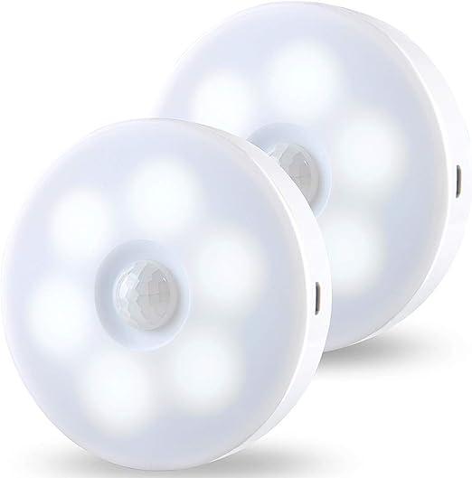 Luz Nocturna, JINPX Luz Noche LED con Sensor de Movimiento Recargable USB (2 pack) Luz LED Armario Lámpara Nocturna para Habitación de Bebé, Dormitorio ,Escalera, Sótano, Cocina,baño, Garaje, Gabinete: Amazon.es: Hogar