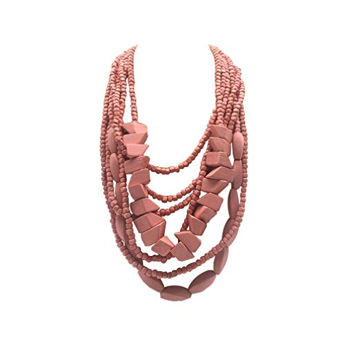 Halawly Multicolored Beaded Wood Bead Layered Necklace (Pink)