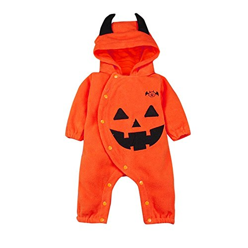 G-real Halloween Cosplay Costume, Fashion Toddler Baby Boys Girls Long Sleeve Devil Hooded Pumpkin Button Romper Bodysuit (Orange, 24M) (Hooded Orange Coverall)