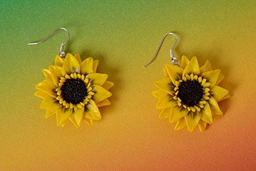 Beautiful Yellow Handmade Designer Polymer Clay Dangle Earrings Sunflowers