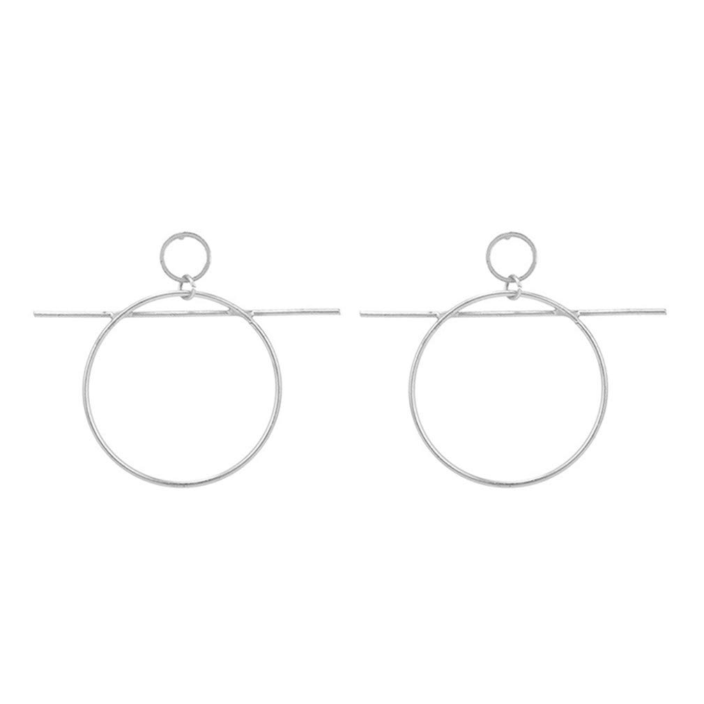 Iumer Women Punk Alloy Big Hoop Bar Stick Stud Earrings,Silver