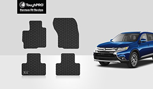 ToughPRO Floor Mats Set (Front Row + 2nd Row) Compatible with Mitsubishi Outlander Sport - (Made in USA) - Black Rubber - 2011, 2012, 2013, 2014, 2015, 2016, 2017, 2018, ()