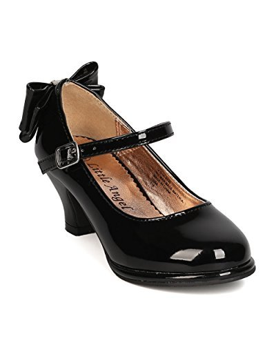 - Girls Patent Leatherette Back Bow Tie Mary Jane Kiddie Heel GB48 - Black (Size: Little Kid 1)