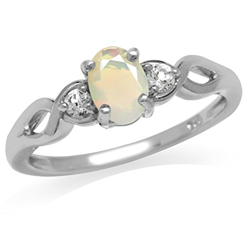Genuine Opal & White Topaz Gold Plated 925 Sterling Silver Engagement Ring Size 7 ()
