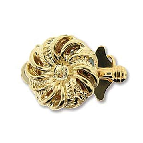 Gold Tone Swirl Push Pull Box Clasp - Single- Strand Clasp - 3 Clasps Per Package