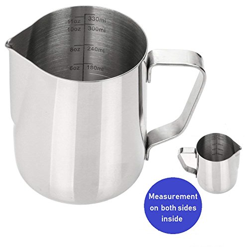 Frothing Pitcher 12 Oz (350ml) with Measurement Mark on Both Sides Inside, 18/8 Anti Rust Stainless Steel Milk Frothing Pitcher for Coffee Steaming Espresso Machine Milk Frothers Latte Art ()