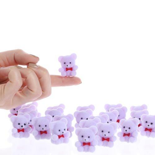 "1"" Mini Flocked Purple Baby Teddy Bears - Pkg of 24"