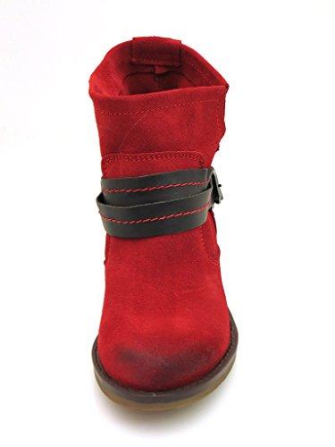 Kathamag Lederstiefelette Stiefelette Lederboots Boots Wildleder 3 Farben 701 Vermelho