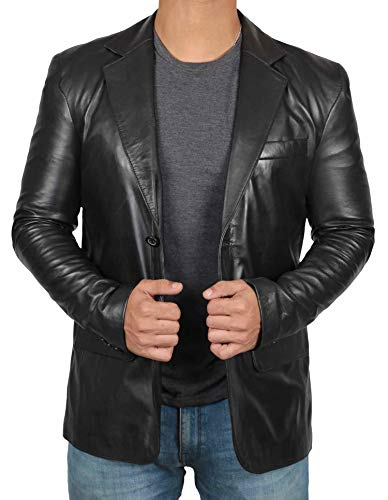 Blingsoul Leather Blazer for Men - Black Car Coat Men | [1500564] Blazer Jacket, L ()