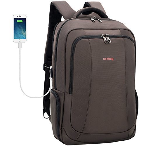 Laptop Backpack, Uoobag Business Computer Backpack with USB Charging Port Slim Travel Bag Anti Theft Water-Resistant for Men/Women/Students 17 Inch Coffee