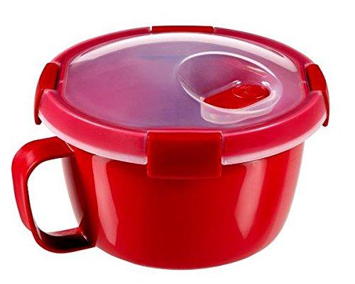 Curver - hermético Smart Micro Noodles 0,9L. Redondo - Con Asa - Apto para Microondas y Recalentar - Color Rojo